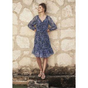 Long Tall Sally Blue Bardot Paisley Chiffon Dress